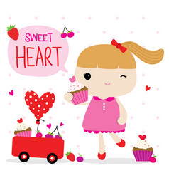 love valentine girl cute cartoon character vector image