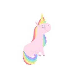 Lovely unicorn character cute fantasy animal vector