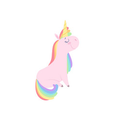 Lovely unicorn character cute fantasy animal with vector