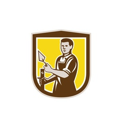 Mason Masonry Worker Trowel Shield Retro vector