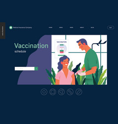 Medical insurance template - vaccination schedule vector
