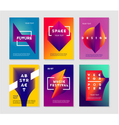 minimalist abstract posters set with vibrant vector image