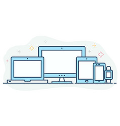Modern flat color line responsive web icons vector