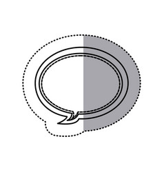 Monochrome contour sticker of oval bubble frame vector