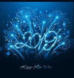 New year s fireworks 2019 with flickering lights vector