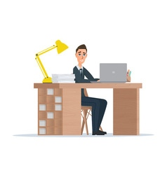 Office worker man behind a desktop isolated on vector