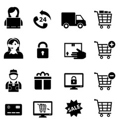 Online shopping and e-commerce icons vector
