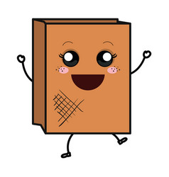 Paper bag for bread kawaii character vector