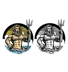 Poseidon god in classic pen style vector