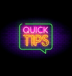 Quick tips with neon effects vector