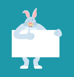 rabbit holding banner blank hare and white blank vector image
