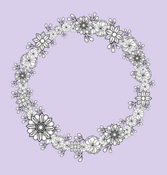 Round frame with different black and white flowers vector