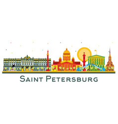 Saint petersburg russia city skyline with color vector