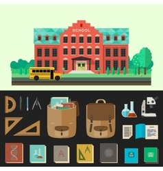 School building with education icons vector image