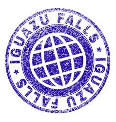 Scratched textured iguazu falls stamp seal vector
