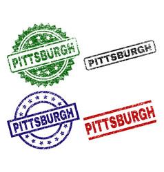 Scratched textured pittsburgh stamp seals vector