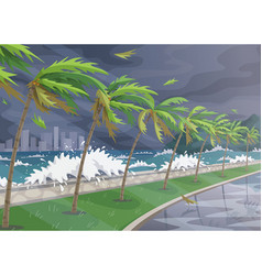 Sea coast landscape during storm in ocean vector