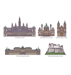 set of isolated austria landmarks in color vector image
