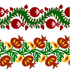 set of seamless tape pattern with flowers vector image