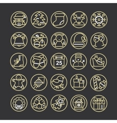 set of thin line icons for Christmas and vector image