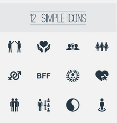 Set simple friends icons vector