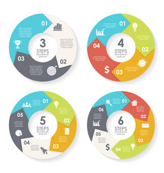 Set template for circle diagram options web vector