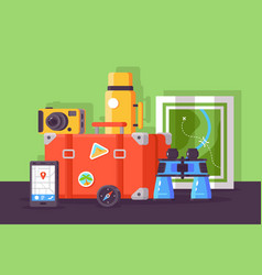 set with traveler kit with mobile map point vector image