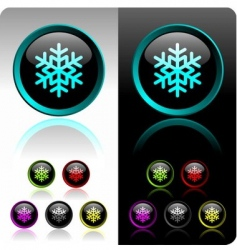 shiny snowflake button vector image vector image