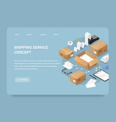 Shipping service landing page concept vector