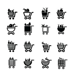 shopping cart icons food and number vector image