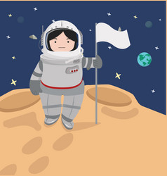 small girl astronaut in a space flat design vector image
