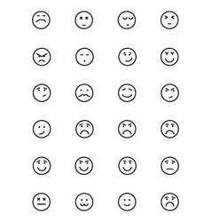 Smiley line icons 5 vector