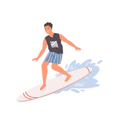 Smiling guy standing on surfboard ride at wave vector