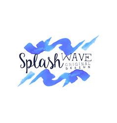 splash wave logo abstract water badge original vector image