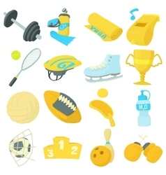 Sport items icons set cartoon style vector