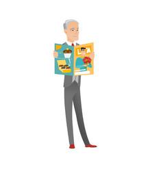 Successful caucasian businessman reading magazine vector