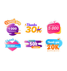 Thank you followers counter banners set posters vector