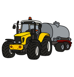 The yellow tractor with a tank trailer vector
