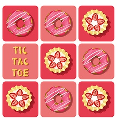 Tic-Tac-Toe of strawberry tart and donut vector