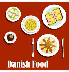 Traditional dinner of danish cuisine vector image