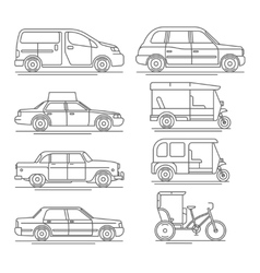 Trendy linear taxi transport icons vector
