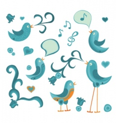 tweeting birds vector image