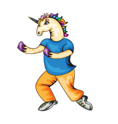Unicorn in clothes vector