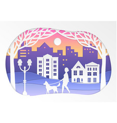 urban winter landscape - paper cut vector image