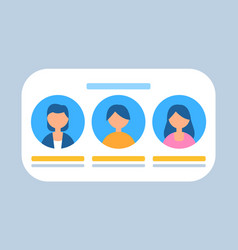 users profiles in row characters banner vector image