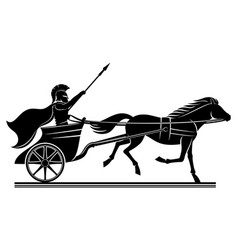 Warrior with a spear on a war chariot vector