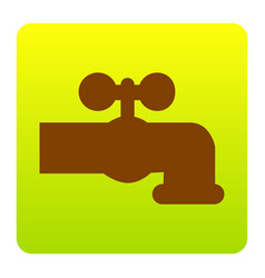 Water faucet sign brown icon vector