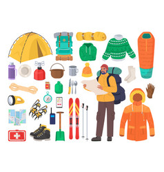 winter hiking gear flat isolated vector image