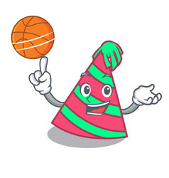With basketball party hat character cartoon vector
