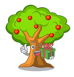With gift apples on tree branch the character vector